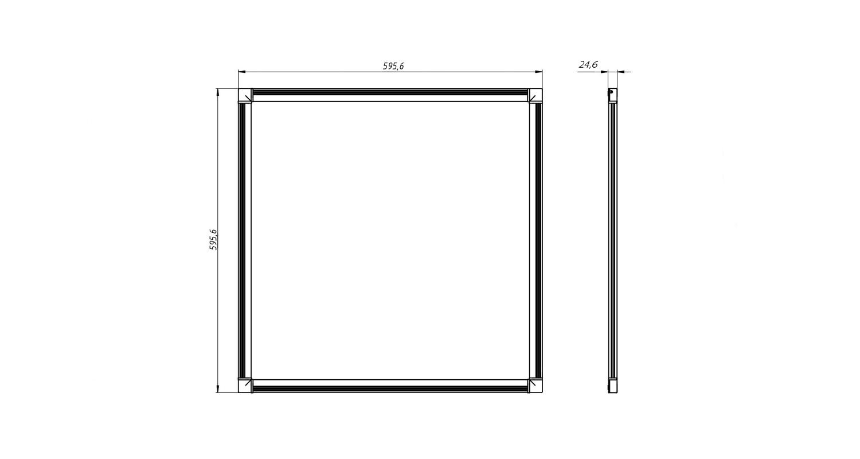 Габаритные размеры DS-DVO-028-1-P600x600 (арт.70001042071104)