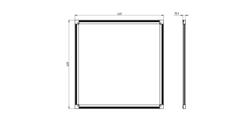 Габаритные размеры DS-DVO-028-2-P625x625 (арт.70009042071104)