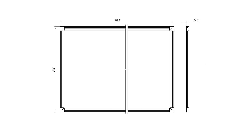 Габаритные размеры DS-DVO-056-2-P600x1200 (арт.70008022071104)