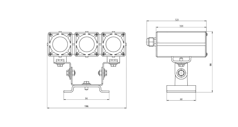 Габаритные размеры DS-LFL-024-3x3 (арт.70103041031140)