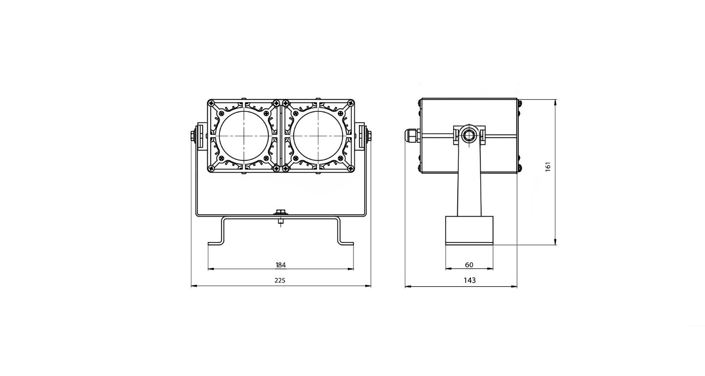 Габаритные размеры DS-LFL-050-2x12 (арт.70110041031140)