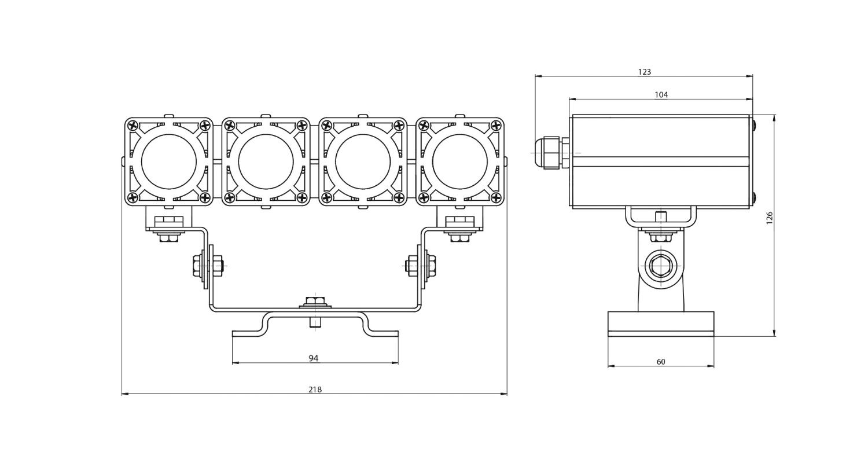 Габаритные размеры DS-LFL-032-4x3(4x1) (арт.70104041031140)