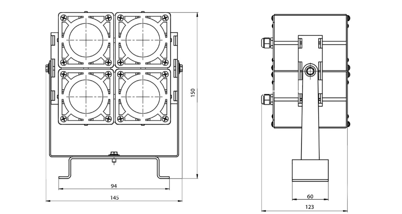 Габаритные размеры DS-LFL-032-4x3(2x2) (арт.70105041031140)