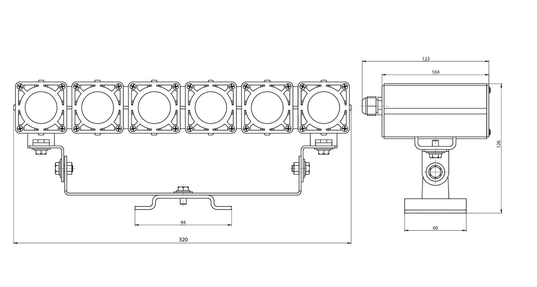 Габаритные размеры DS-LFL-048-6x3(6x1) (арт.70106041031140)