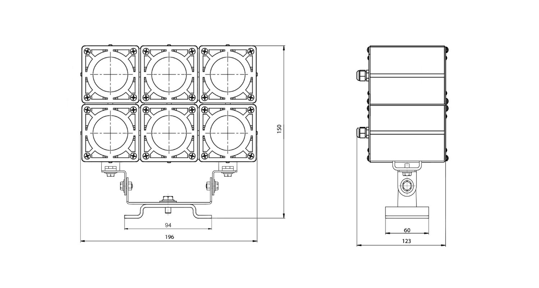 Габаритные размеры DS-LFL-048-6x3(3x2)