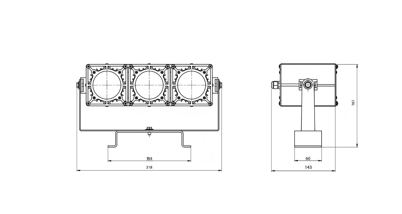Габаритные размеры DS-LFL-075-3x12 (арт.70111041031140)