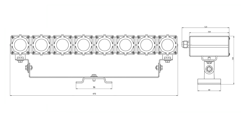 Габаритные размеры DS-LFL-064-8x3 (арт.70108041031140)