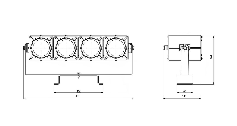 Габаритные размеры DS-LFL-100-4x12(4x1)