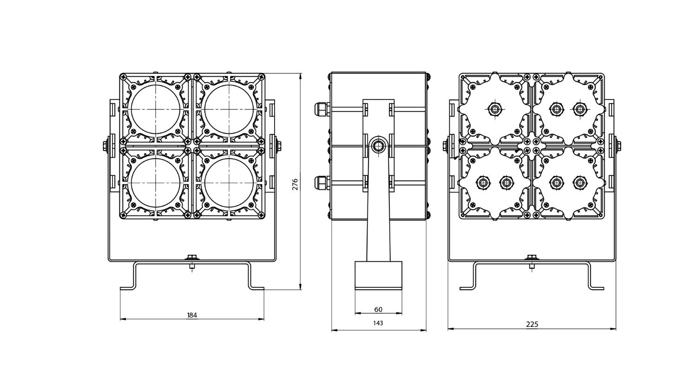 Габаритные размеры  DS-LFL-100-4x12(2x2)