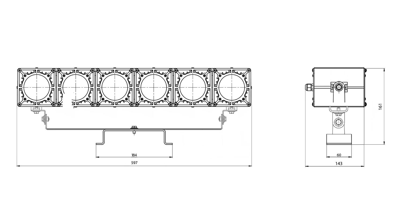 Габаритные размеры DS-LFL-150-6x12(6x1) (арт.70114041031140)