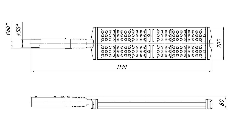 Габаритные размеры LL-ДКУ-02-180-0302/0307-67