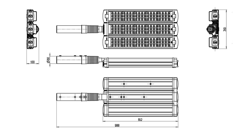 Габаритные размеры LL-ДКУ-02-225-0331-67