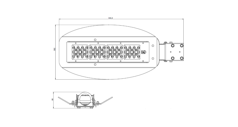 Габаритные размеры LL-ДКУ-200-148