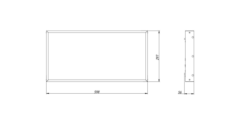 Габаритные размеры LL-DVO-020-M600x300 (арт.71001062061100)