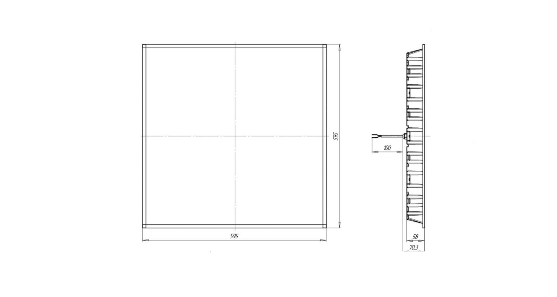 Габаритные размеры LL-DVO-028-P600x600 (арт.71010062071104)