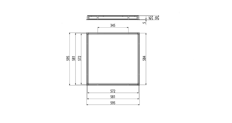 Габаритные размеры LL-DVO-040-P600x600 (арт.71007062061100)