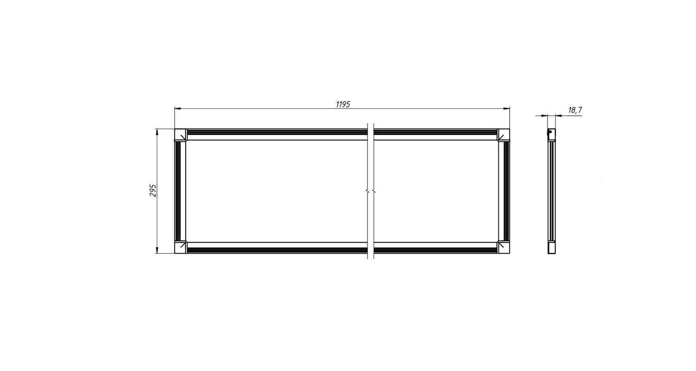 Габаритные размеры SLIMPANEL.2-P300x1200-25 (арт.70007062071104)