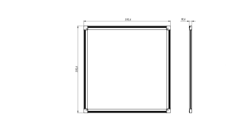 Габаритные размеры SLIMPANEL.2-P600x600-25