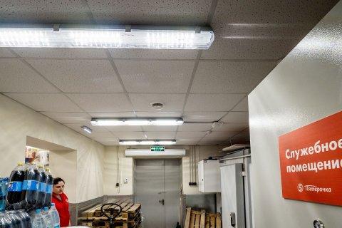 Линейные светодиодные светильники ЛидерЛайт в магазине Пятерочка